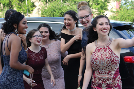 Seniors Raven Carter, Marissa Reese, Sarah Diaz, Ariana Islas, Laura Mueller, and Alicia Willoughby spent many hours choosing just the right dress for prom.