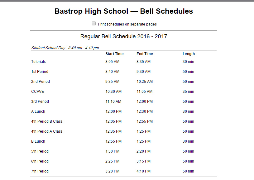 BHS currently uses a traditional seven period class schedule. A block schedule would have fewer classes in a single day, usually four,  but more time for each class.