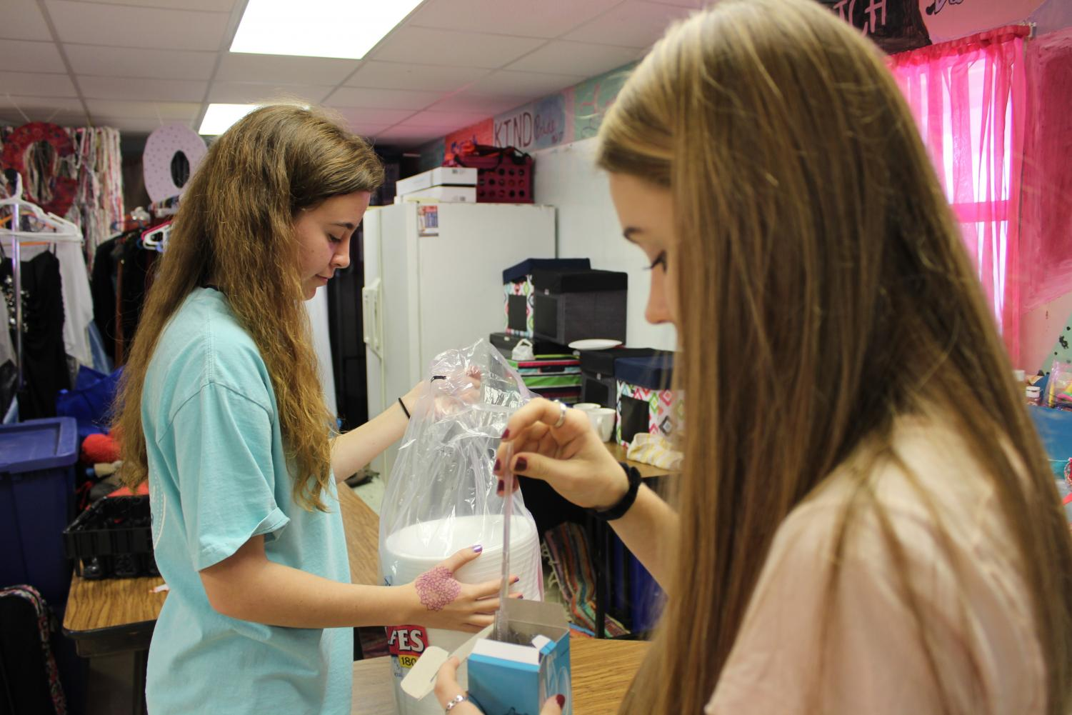 "Getting all the supplies ready, sophomores Jamie McPhaul (left) and Zoey Croft (right) sort utensils and plates they will provide for the family Student Council is ""adopting."" StuCo has participated in the Adopt a Family project the past year, and will also participate this year. ""We did a really good job last year, but this year we plan to blow last year's baskets out of the water,"" McPhaul said."