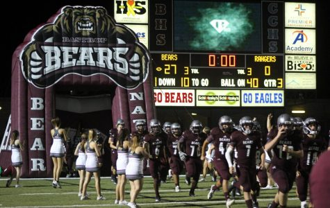 The varsity football team arrives back on the field after a short halftime against Rudder High School located in Bryan, Texas. The final score was Bastrop 36- Rudder 14.