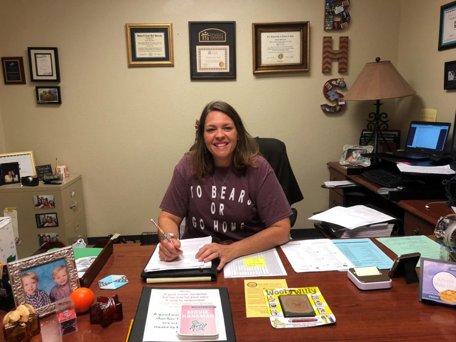 New Lead Counselor Christine Rector diligently takes on the work of the new school year with a smile on her face.