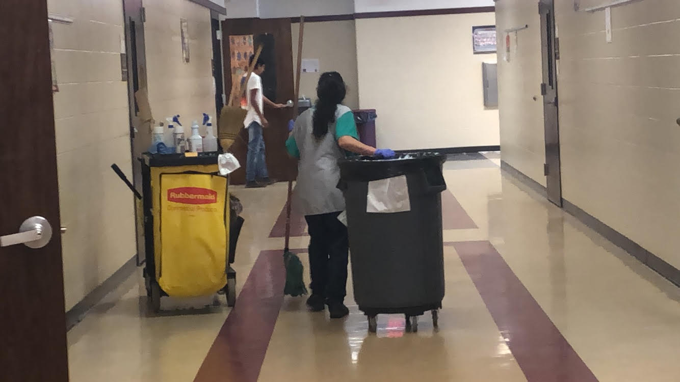 BHS janitorial staff helps make sure to keep our school clean during allergy season.