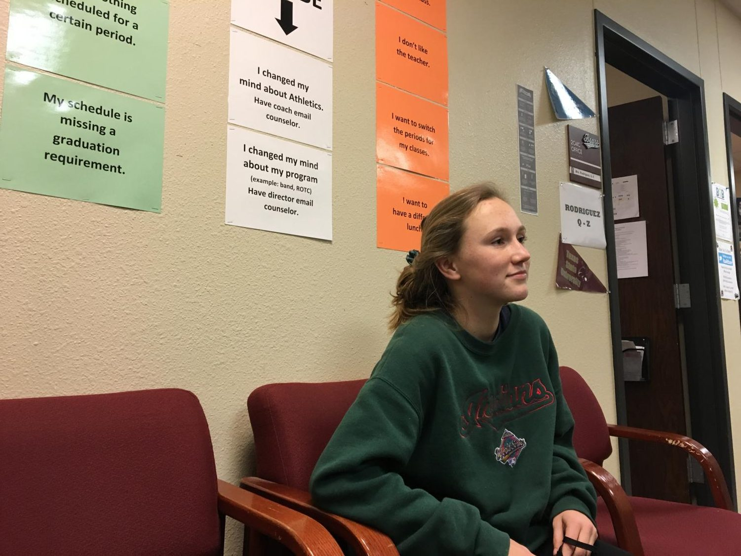 Freshman Louise Hager waits at the Counselor's Office in the afternoon to talk to her counselor about her pathway.