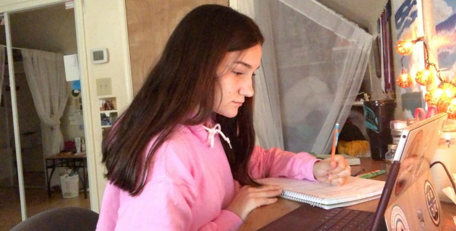 Sophomore Ella Vinklarek takes notes from home during her Zoom Algebra II class.