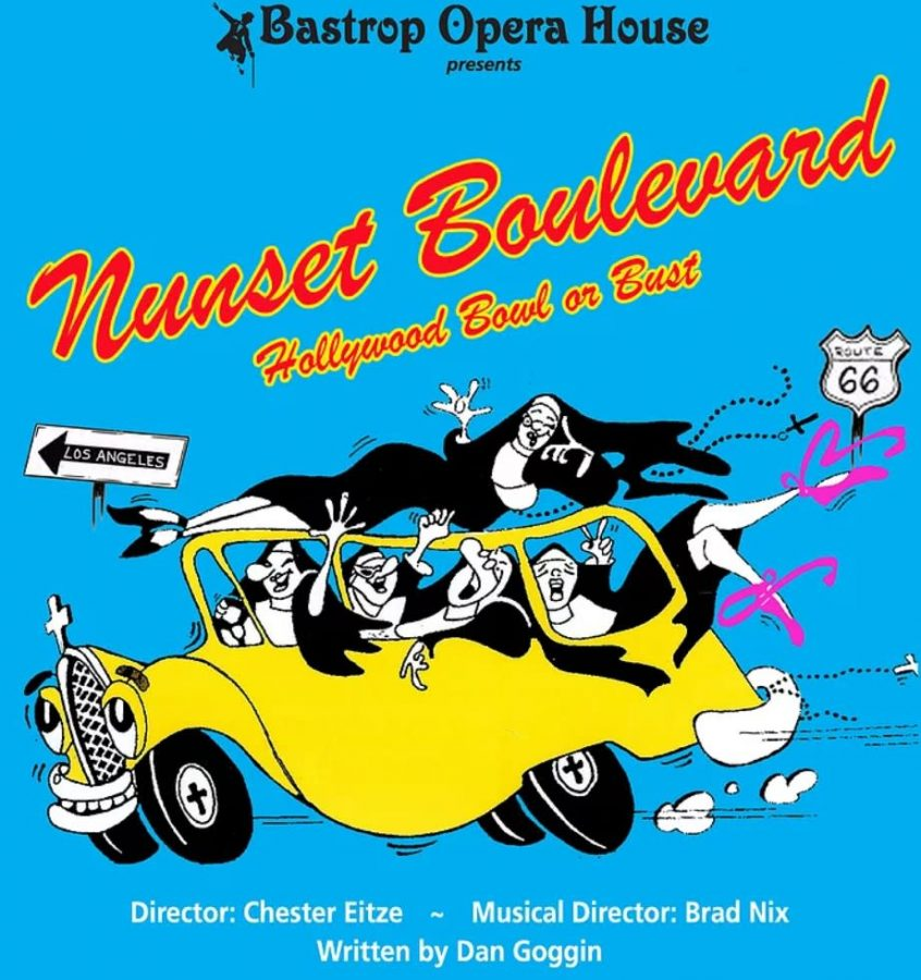 Logo of the Bastrop Opera Houses production of Nunset Boulevard featuring all five Sisters of Hoboken