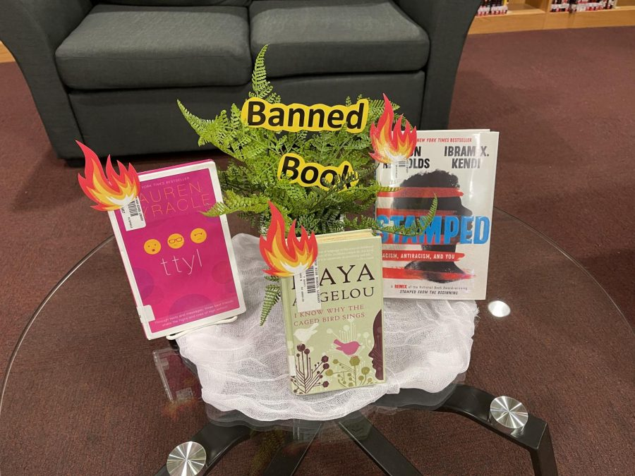 Banned books, lined up to advertise for banned book week